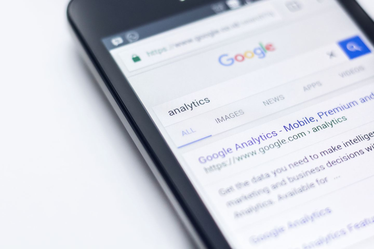 Image of Google search on smartphone screen